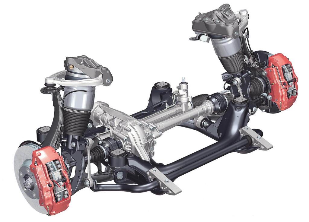 9pa Porsche 955 957 Cayenne Suspensión Neumática Subchasis Delantero Y Diagrama Del Eje